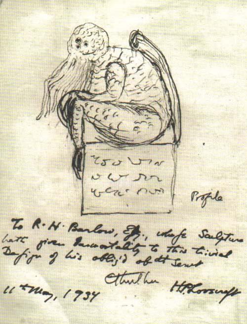 Cthulhu nach einer Skizze von Lovecraft