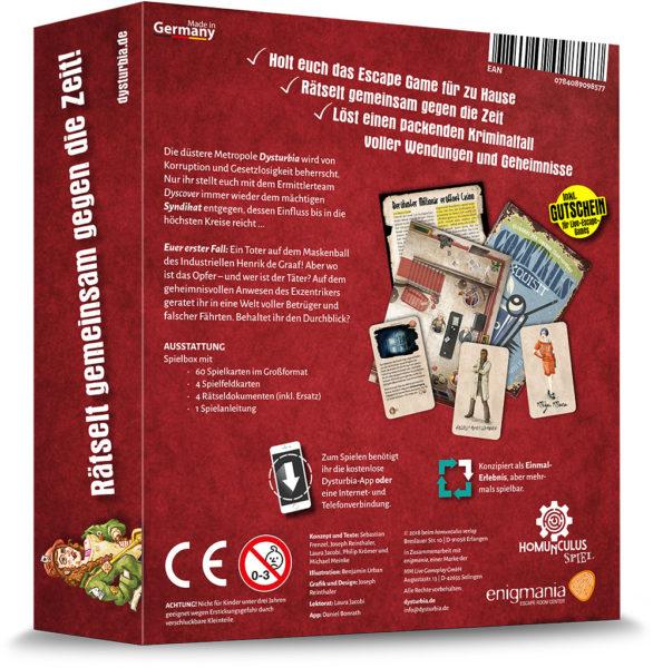 Escape Dysturbia: Mörderischer Maskenball | Verpackungsrückseite