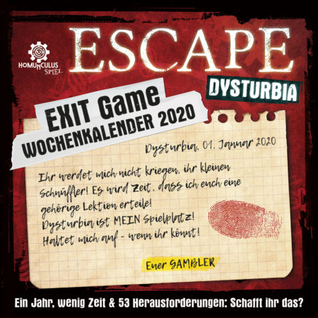 ESCAPE Dysturbia. Exit-Game-Wochenkalender 2020 | Cover