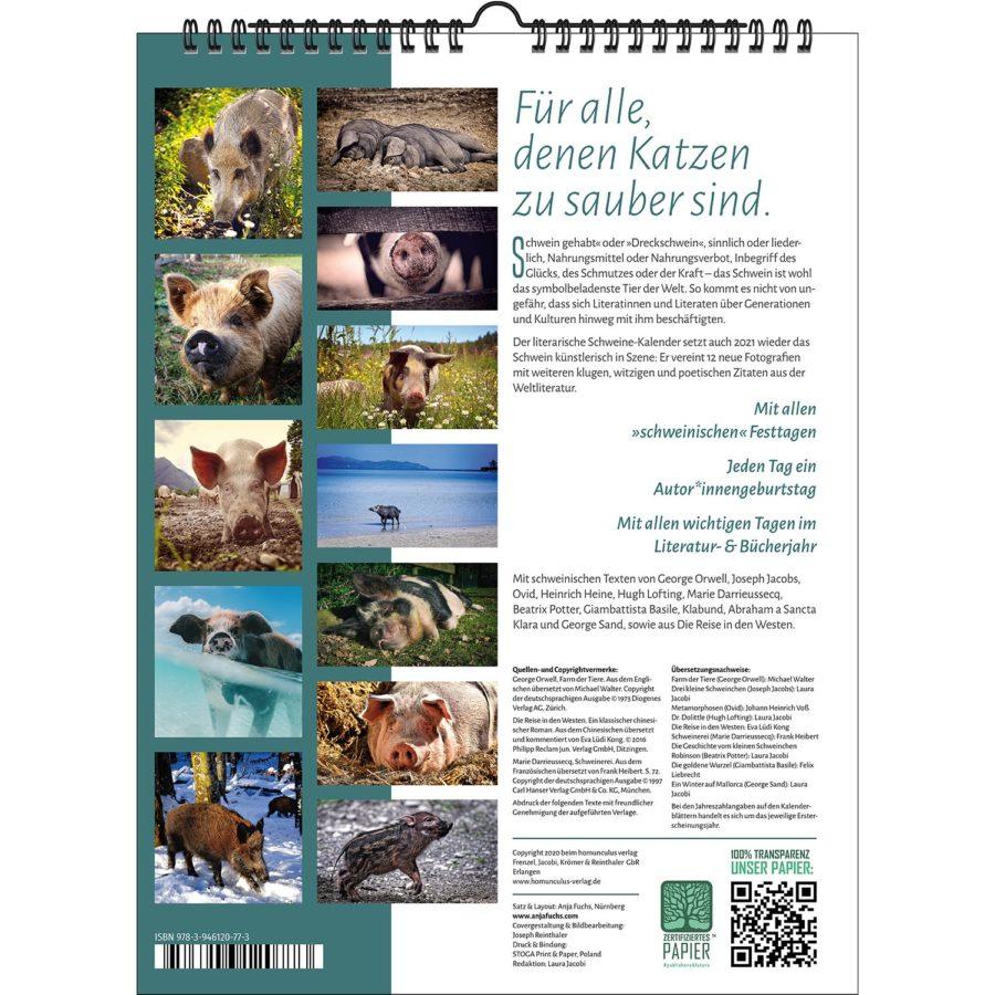 Der Literarische Schweinekalender 2021   homunculus verlag